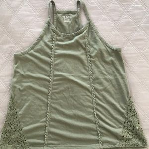 Gap girl's army green racer-back tank top